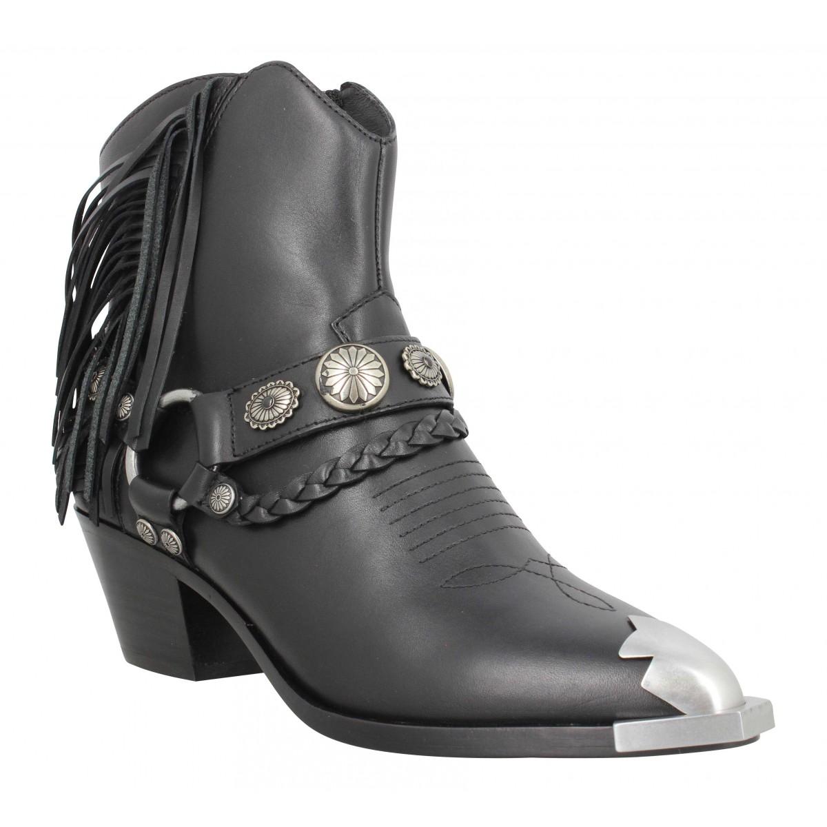 Bottines ASH Farrow cuir Femme Noir