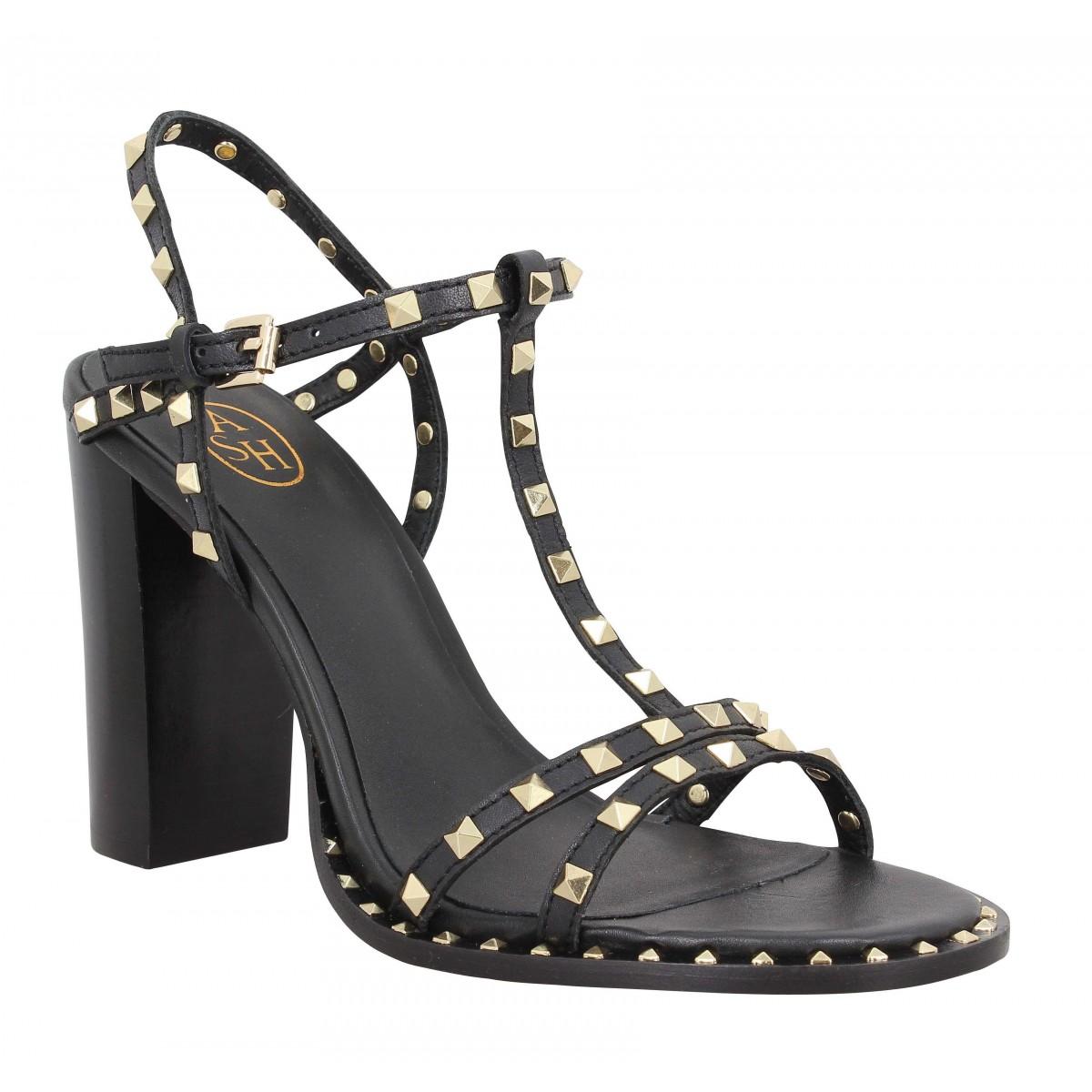 Sandales talons ASH Lips cuir Femme Noir