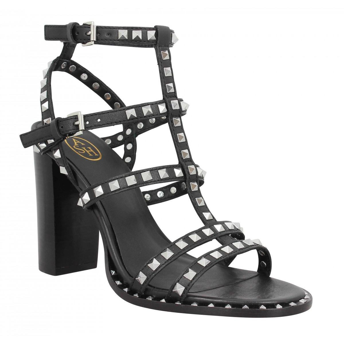 Sandales talons ASH Lucy cuir Femme Noir