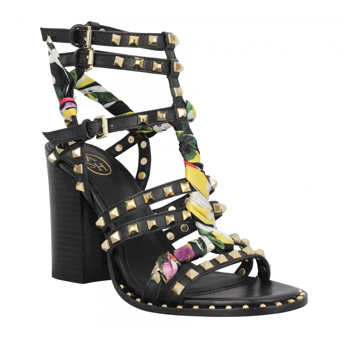 Sandales talons ASH Luna cuir Femme Noir