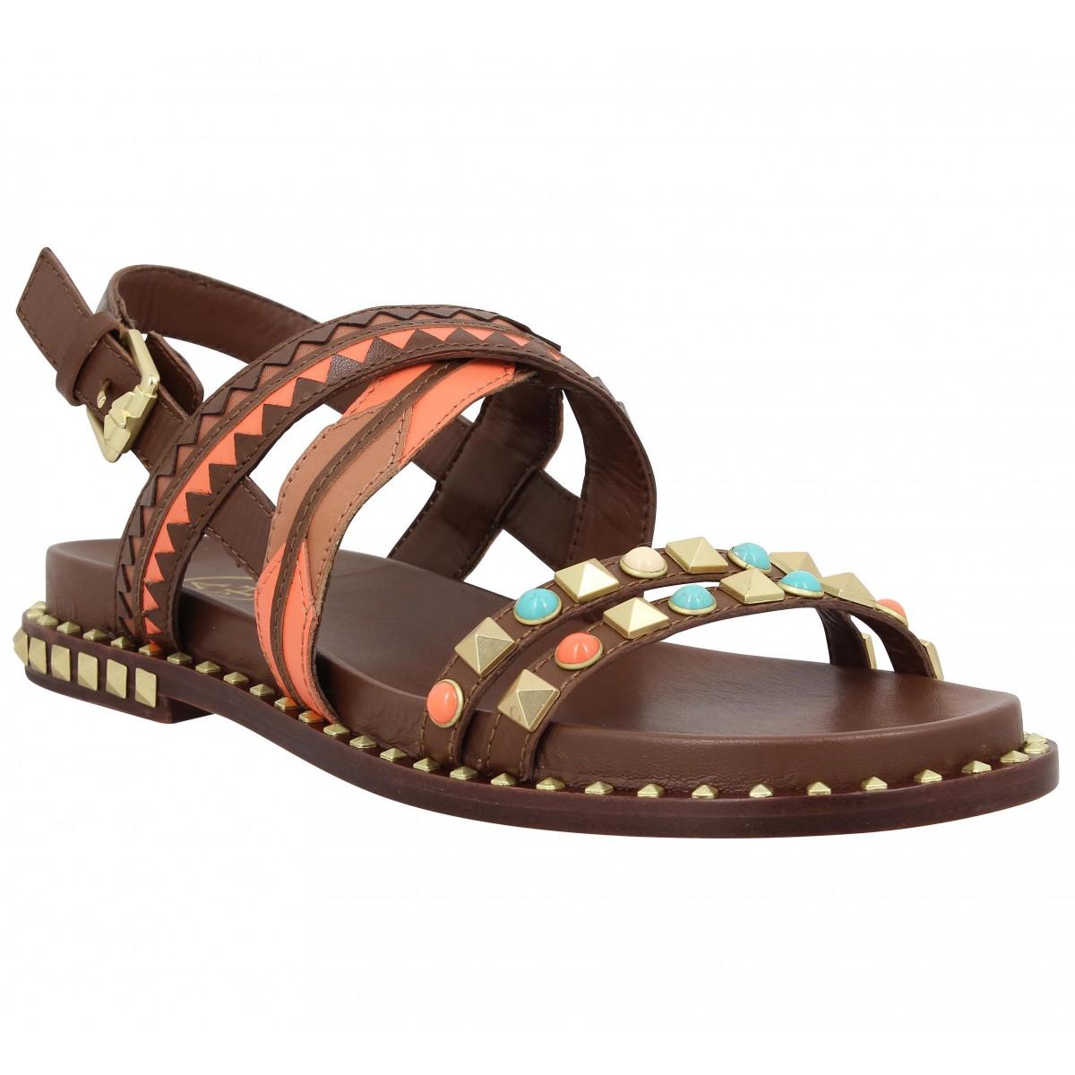 Nu-pieds ASH Massai cuir Cacao