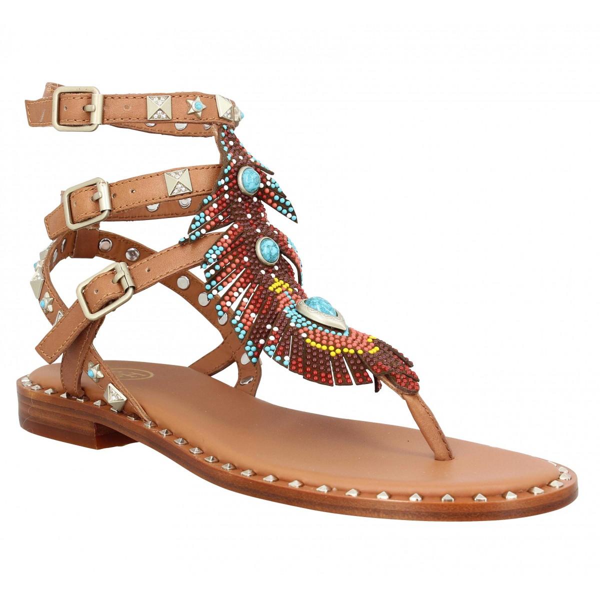 Nu-pieds ASH Pandora cuir Femme Tan