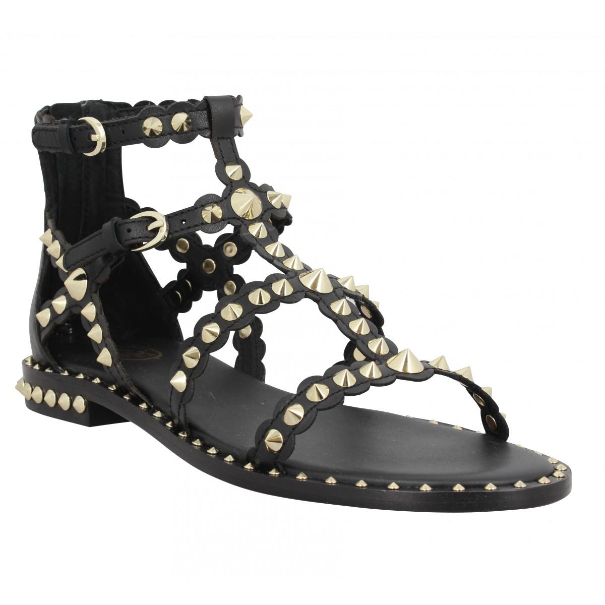 Nu-pieds ASH Pixel cuir Femme Black