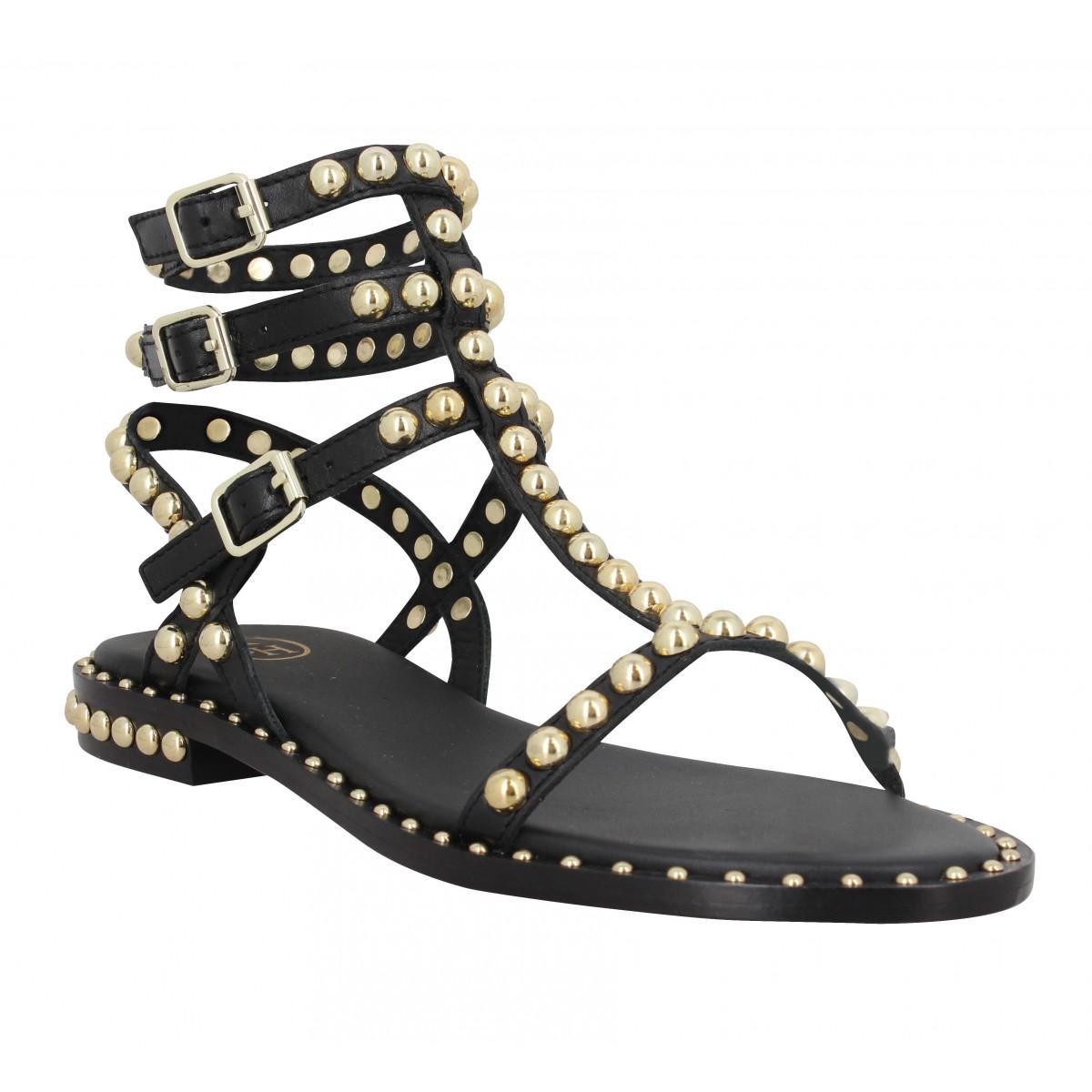 Nu-pieds ASH Play cuir Femme Black
