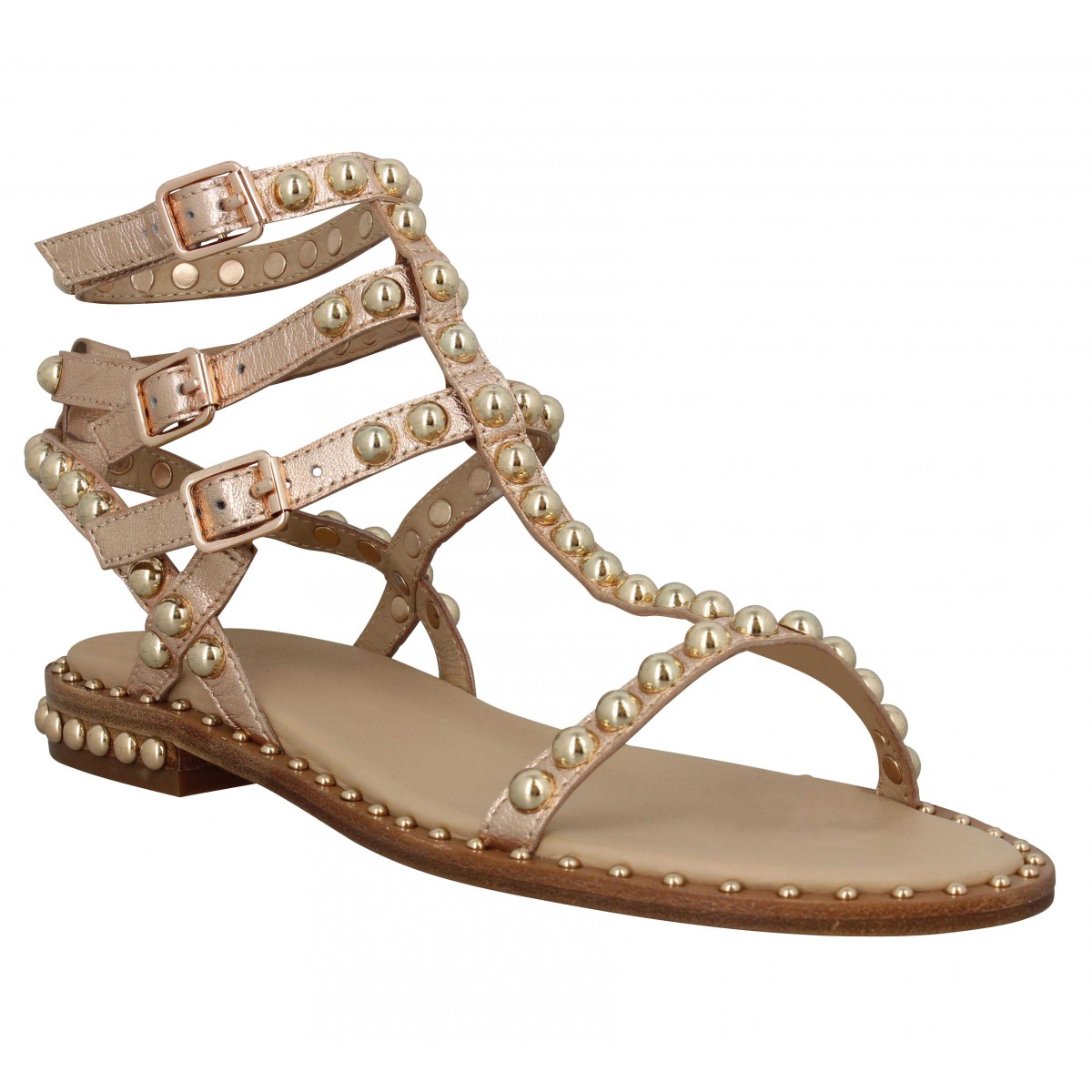 Nu-pieds ASH Play cuir Femme Rame