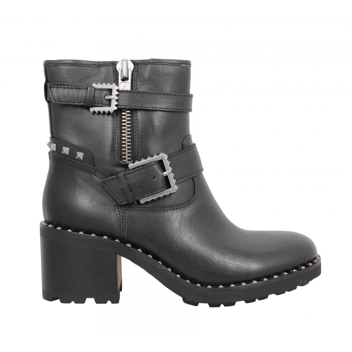 Xenon Femme Noir Cuir Chaussures Fanny Ash 7UwZqgq