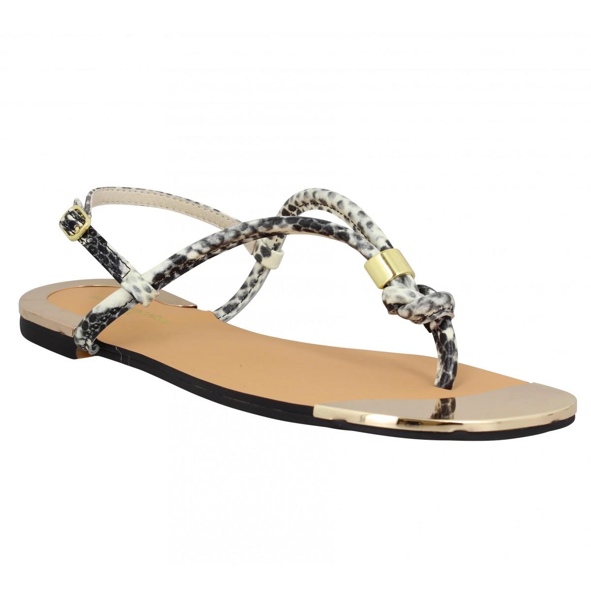 Nu-pieds ATELIER MERCADAL Plage python Femme Naturel