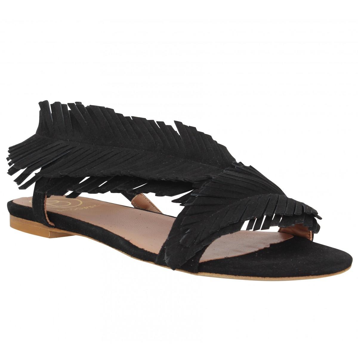 Nu-pieds BALDOWSKI 198 velours Femme Noir