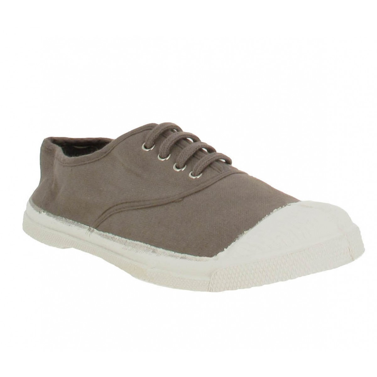 Baskets BENSIMON Lacet toile Femme Taupe