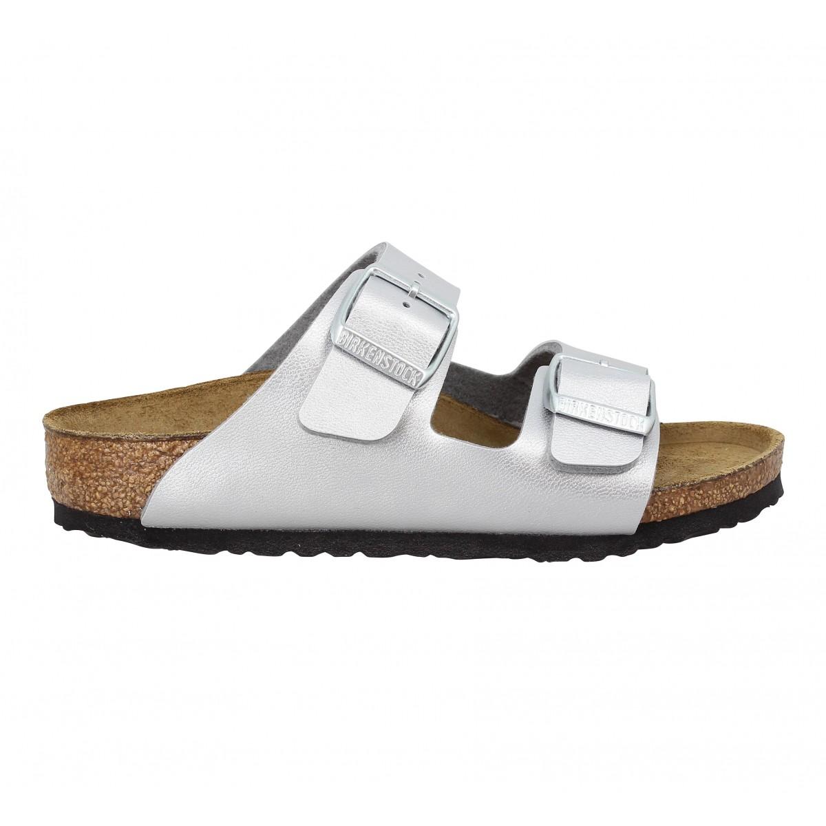Birkenstock arizona birko flor enfant argent enfants   Fanny chaussures