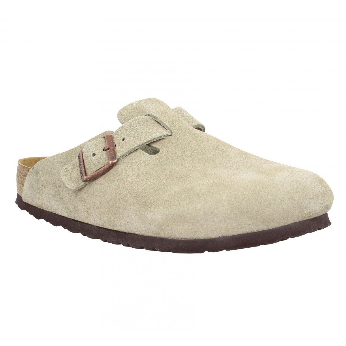 Mules BIRKENSTOCK Boston suede Homme Taupe