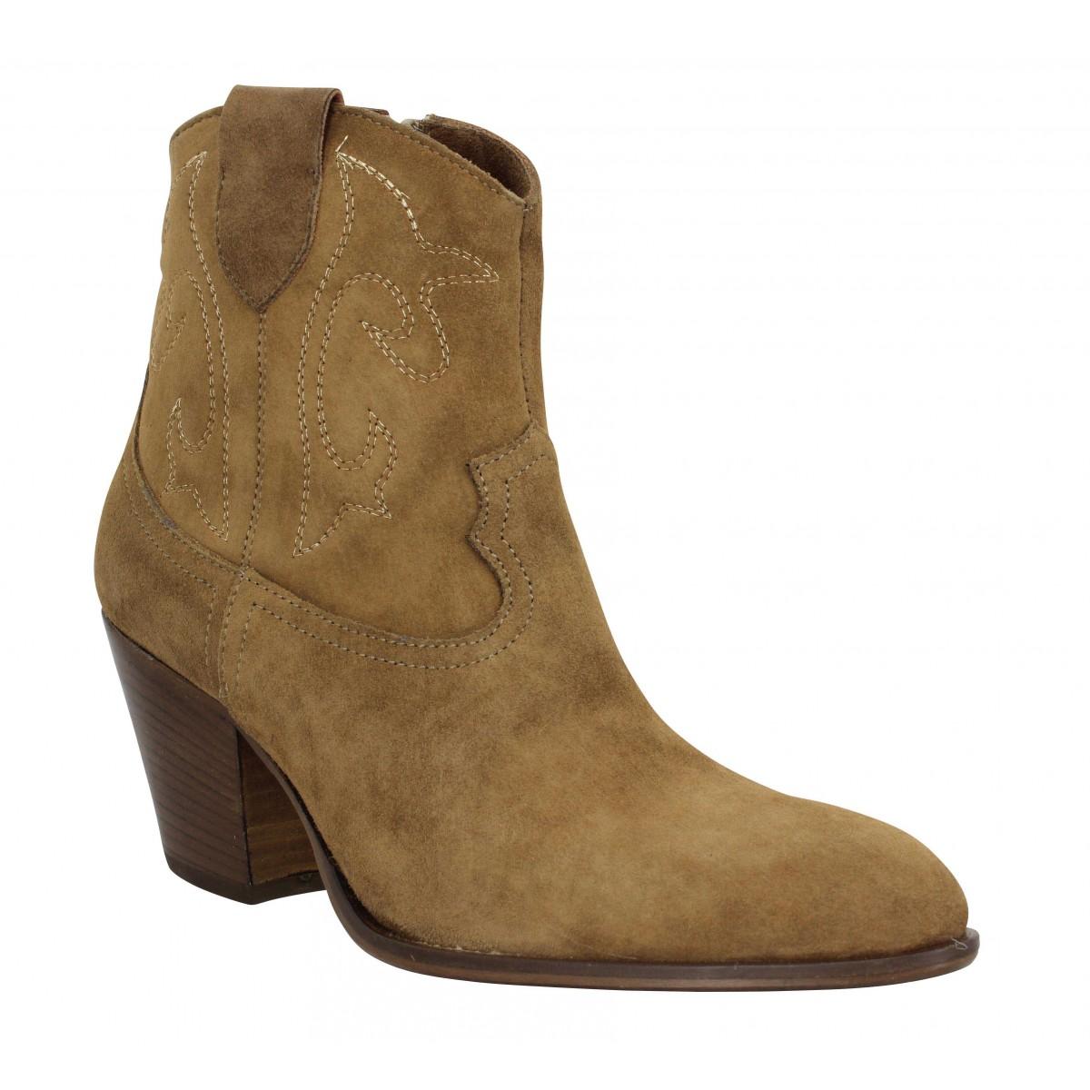 Bottines BLU VELVET Cowboy velours Femme Cognac