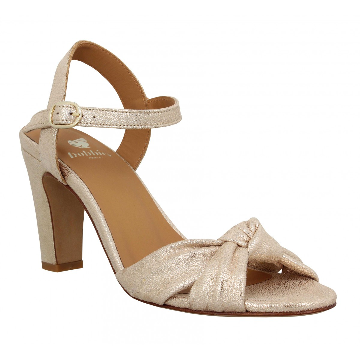 Sandales talons BOBBIES Candice cuir craquele Femme Champagne Irise
