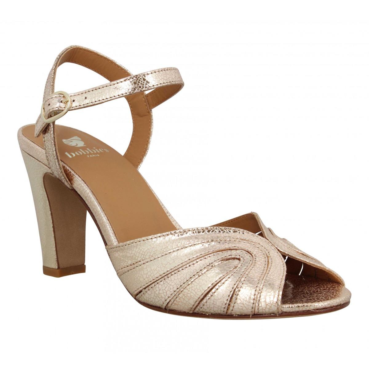 Sandales talons BOBBIES Ella cuir craquele Femme Dore
