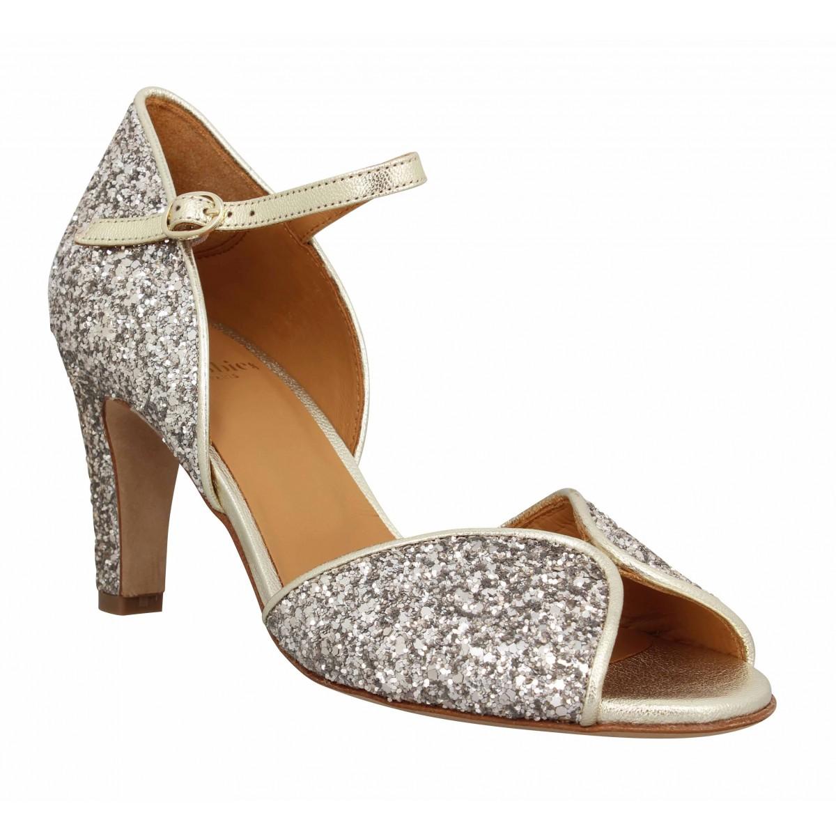 Sandales talons BOBBIES Holly glitter Femme Dore