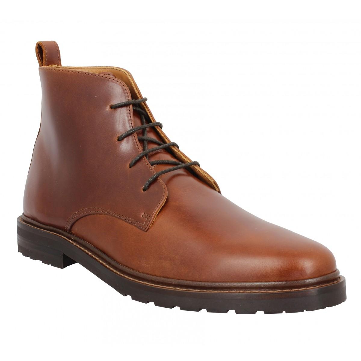 Bottines BOBBIES Inglewood cuir Homme Armagnac
