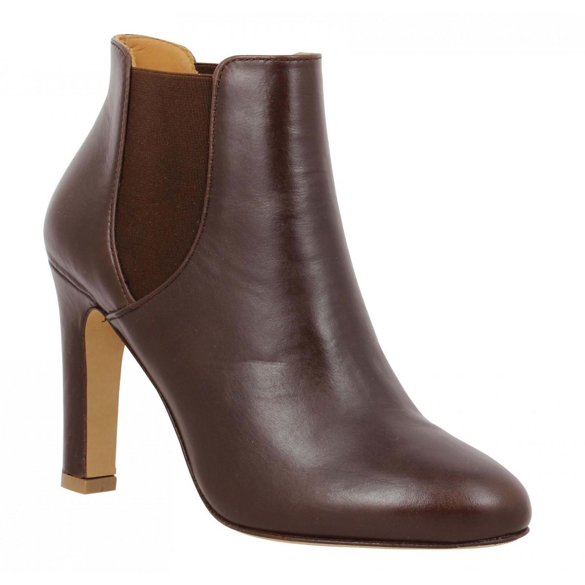 L Marron Chaussures Bobbies Cuir Amante Fanny Femme d67xn0ROqw