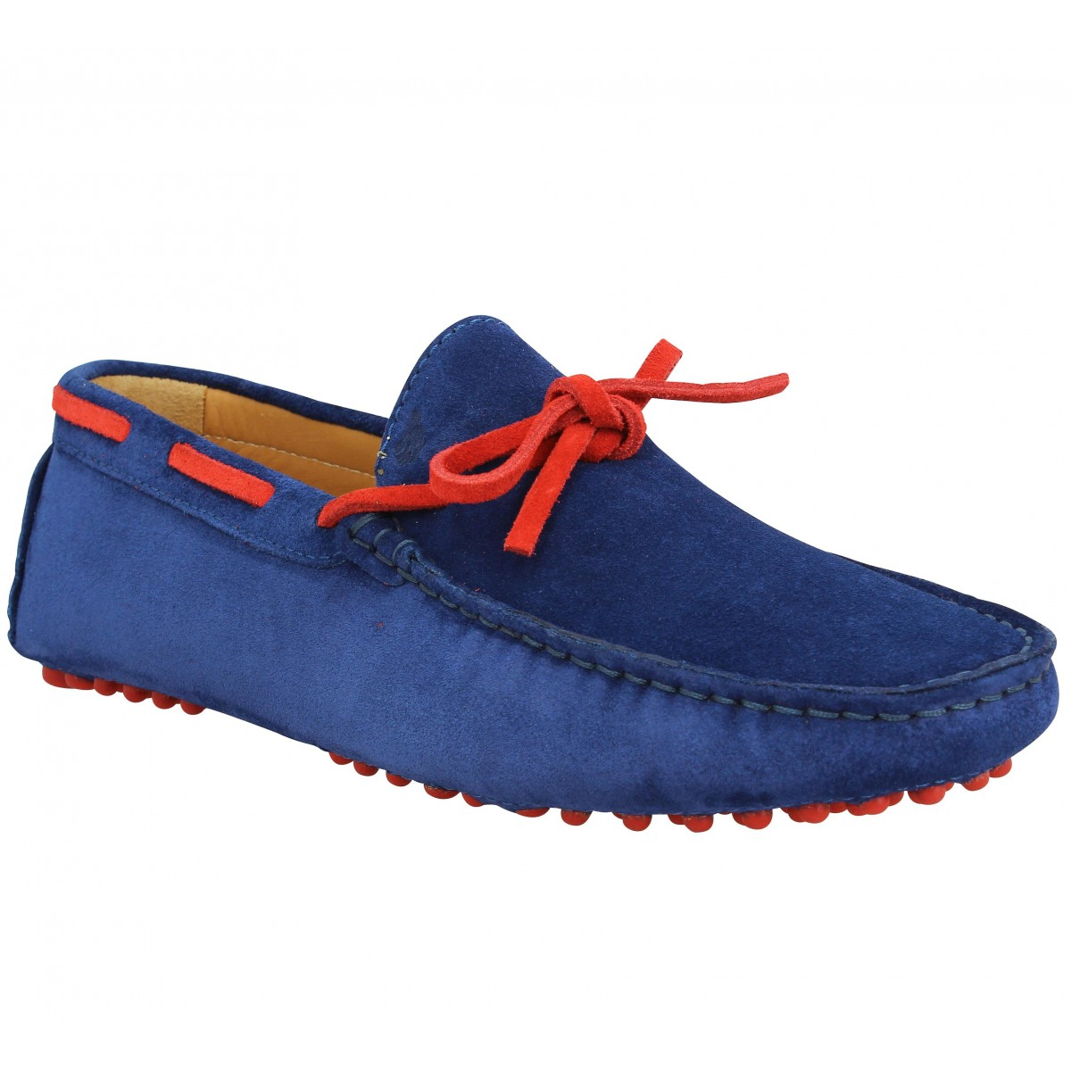 Mocassins BOBBIES L'Artiste velours Homme Bleu Rouge