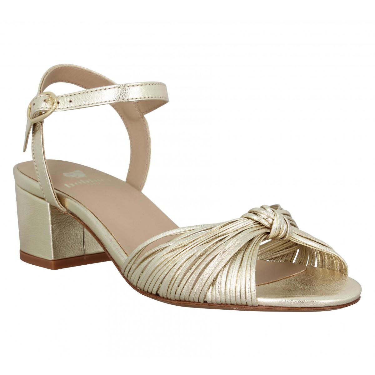 Sandales talons BOBBIES L'Astrale cuir lamine Femme Or Champagne