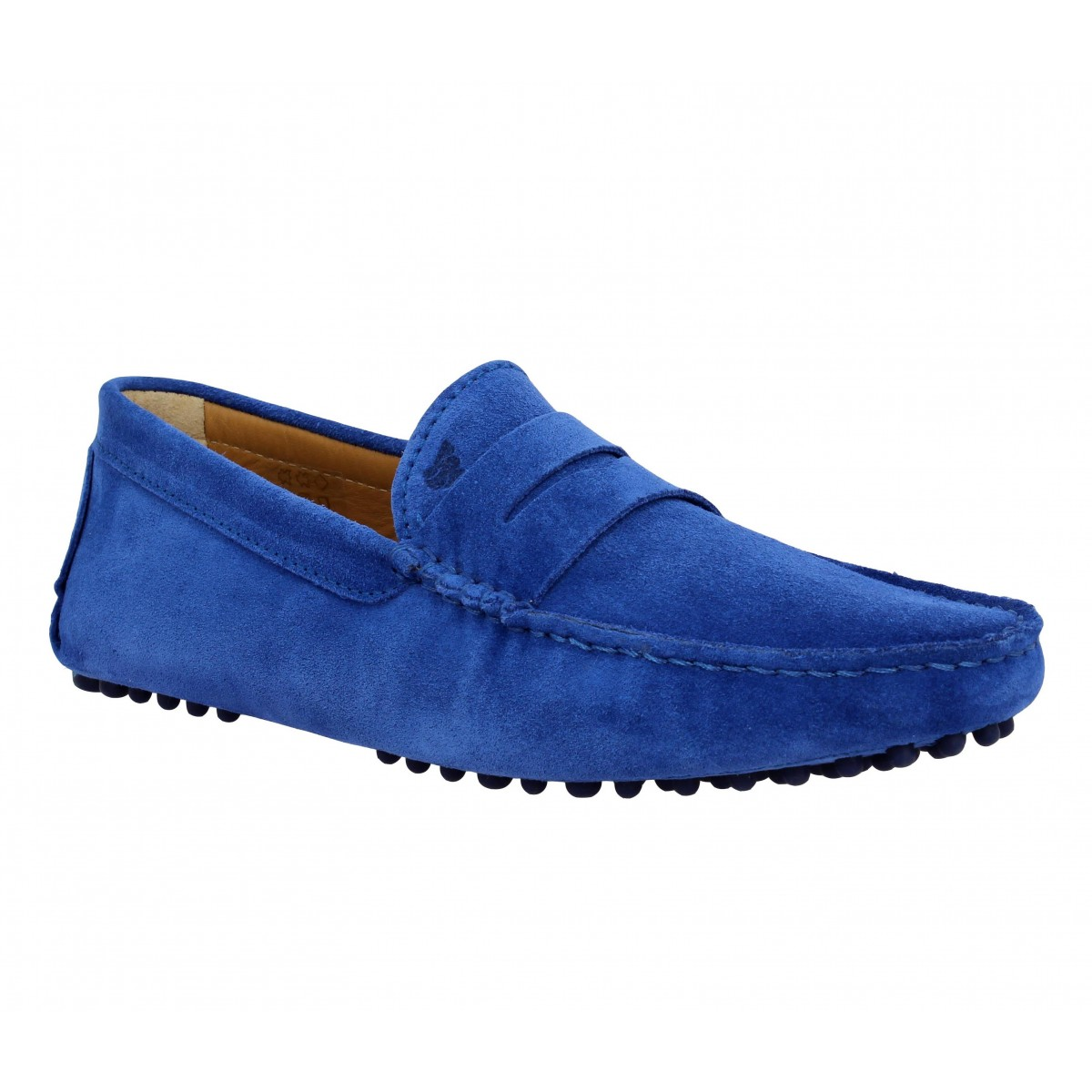 Mocassins BOBBIES L'Elegant velours Homme Bleu