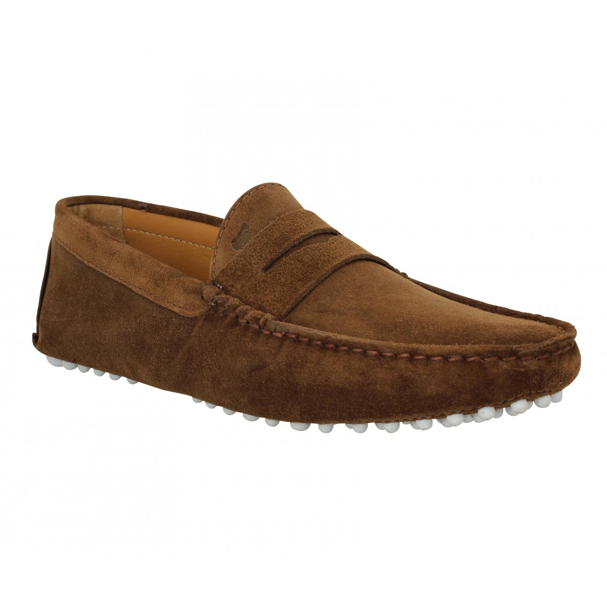 Mocassins BOBBIES L'Elegant velours Homme Brun