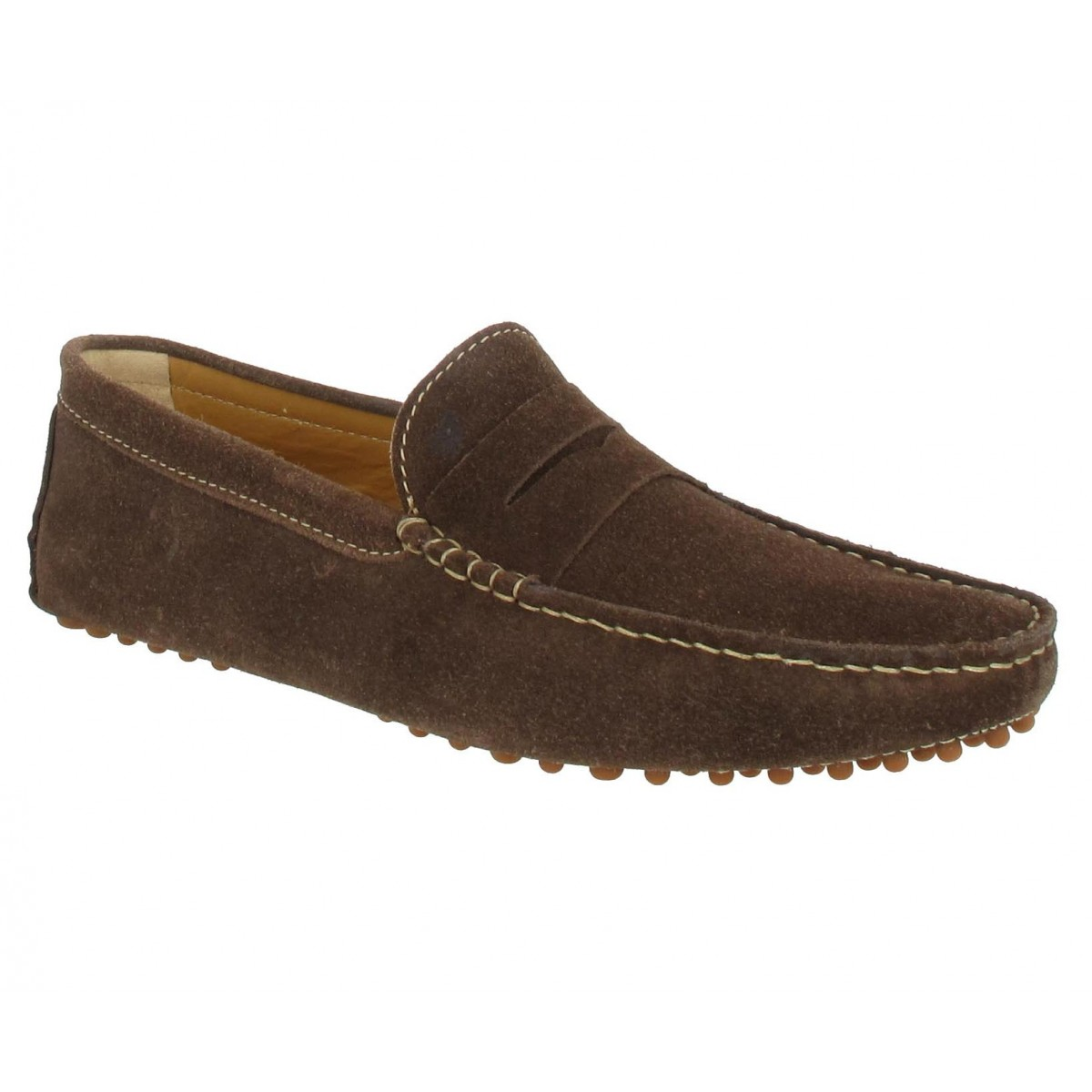 Mocassins BOBBIES L'Elegant velours Homme Marron