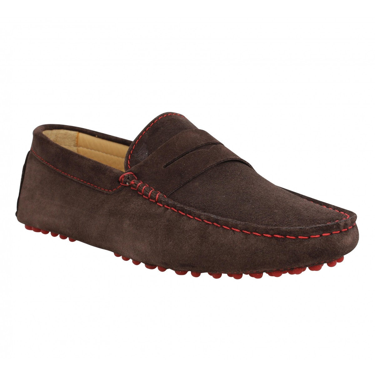 Mocassins BOBBIES L'Elegant velours Homme Marron Chocolat