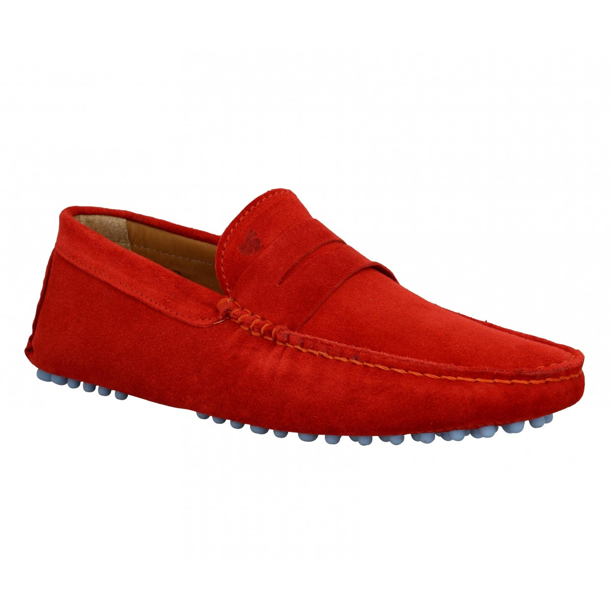 Mocassins BOBBIES L'Elegant velours Homme Orange