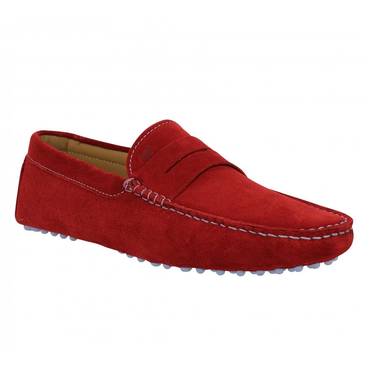Mocassins BOBBIES L'Elegant velours Homme Rouge Anglais