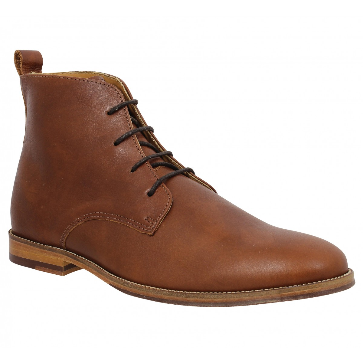 Bottines BOBBIES L'Explorateur cuir Homme Cognac