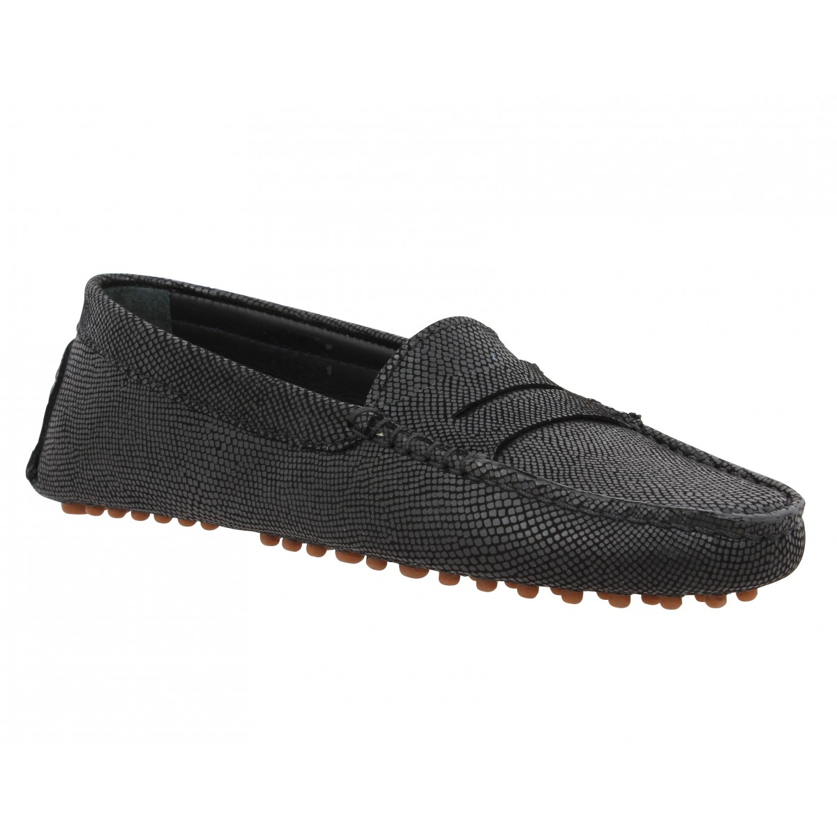 Mocassins BOBBIES L'Indomptable cuir reptile Femme Noir