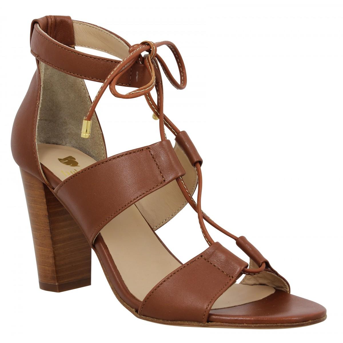 Sandales talons BOBBIES L'Olympienne cuir Femme Cognac