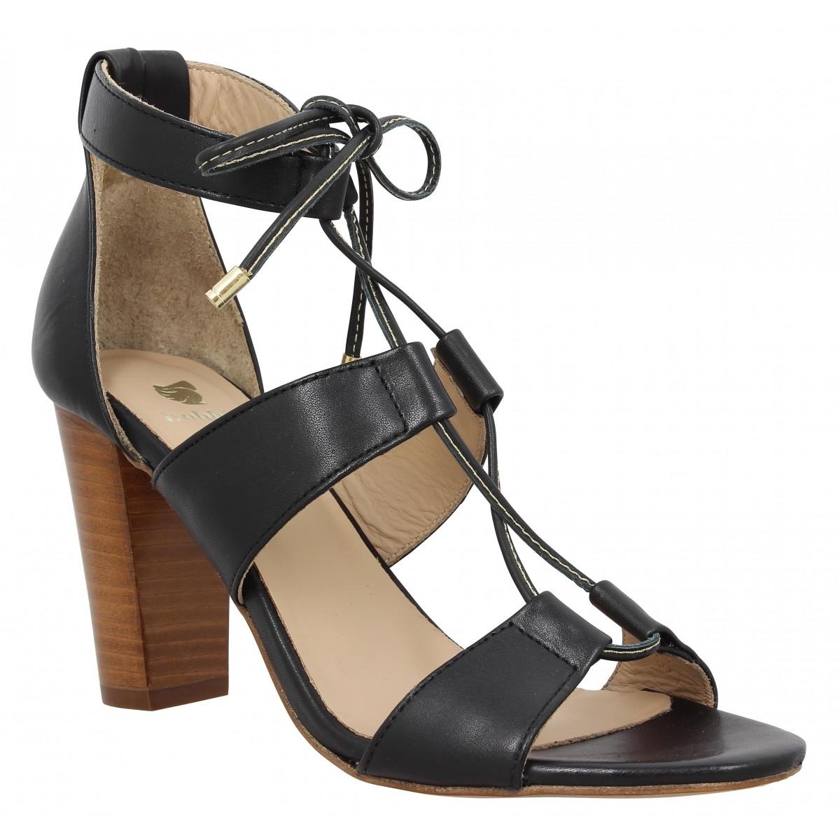 Sandales talons BOBBIES L'Olympienne cuir Femme Noir