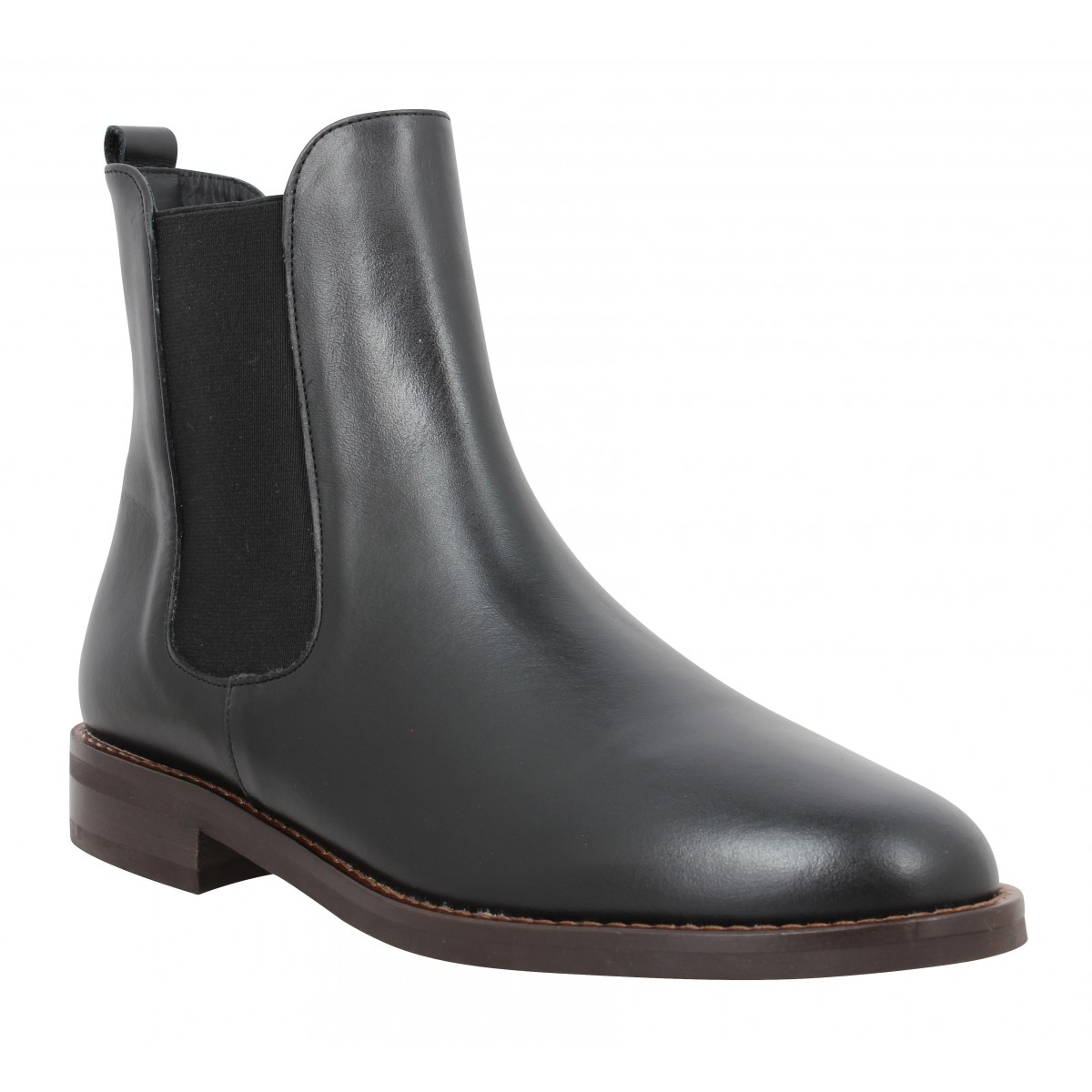 Bottines BOBBIES La Bricklane cuir Femme Noir Intense