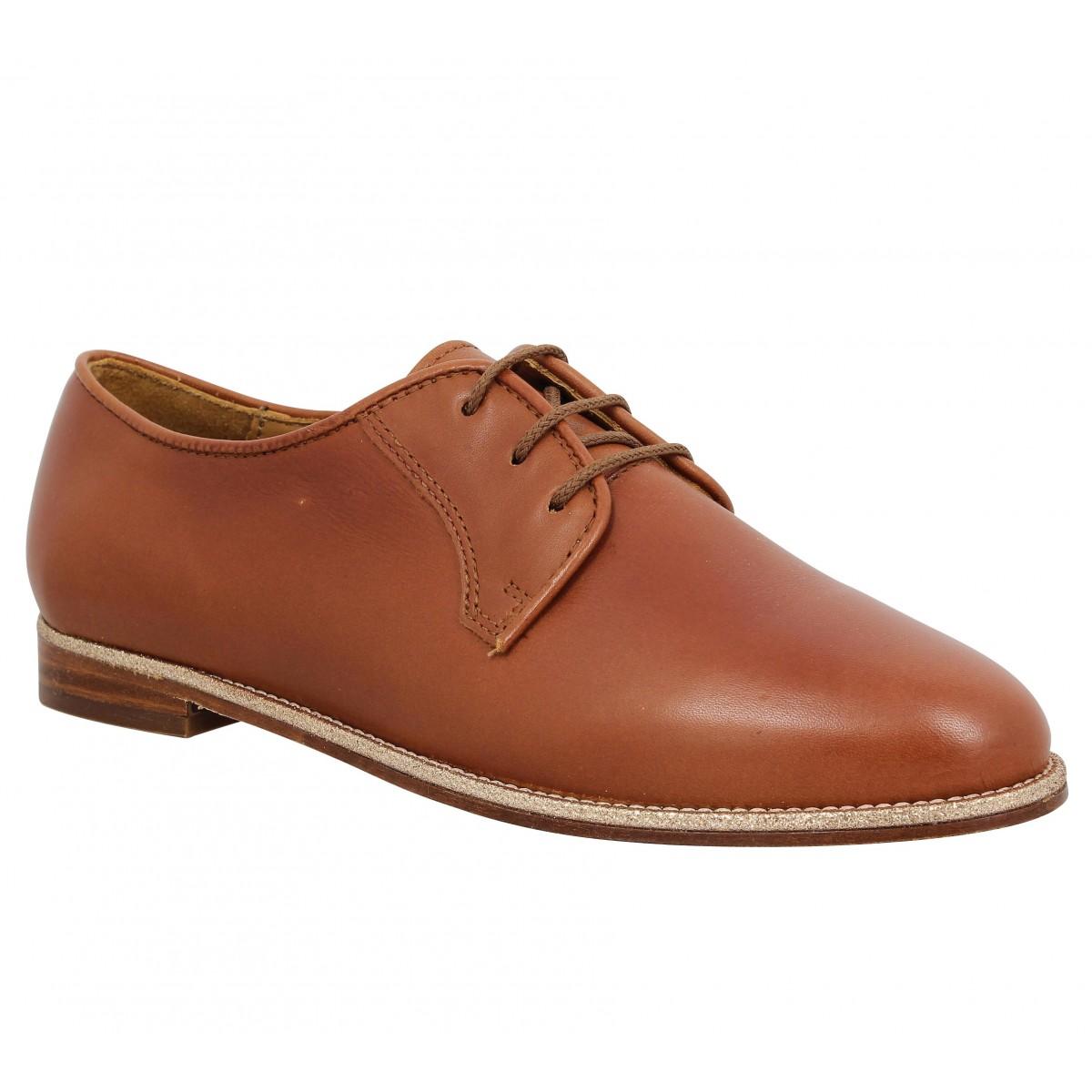 Chaussures à lacets BOBBIES La Brillante cuir Femme Cognac