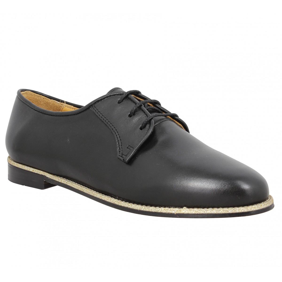 Chaussures à lacets BOBBIES La Brillante cuir Femme Noir