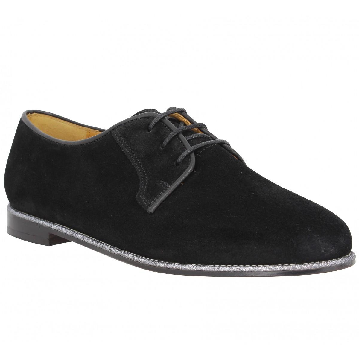 Chaussures à lacets BOBBIES La Brillante velours Femme Noir