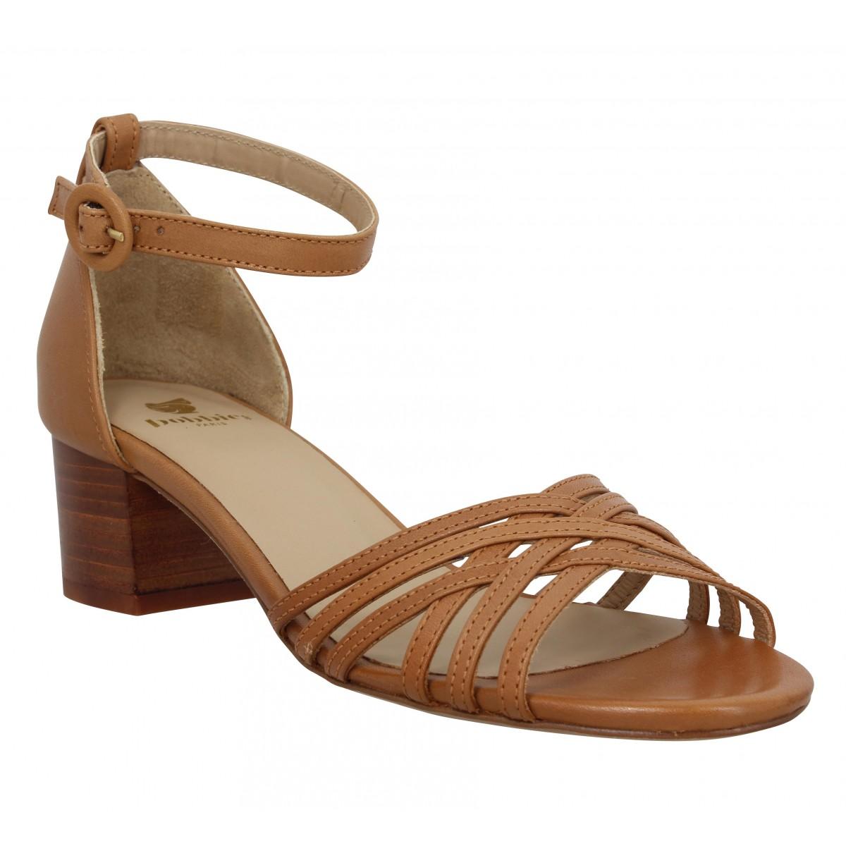 Sandales talons BOBBIES La Corinthienne cuir Femme Camel