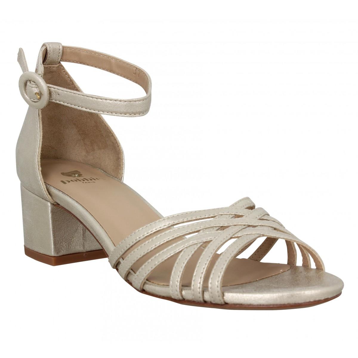 Sandales talons BOBBIES La Corinthienne cuir lame Femme Or Sable