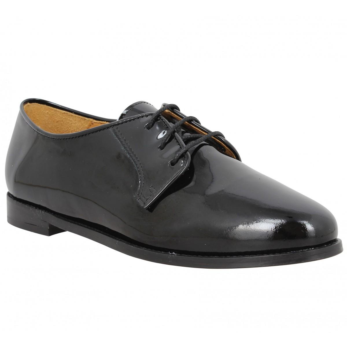 Chaussures à lacets BOBBIES La Craneuse vernis Femme Noir