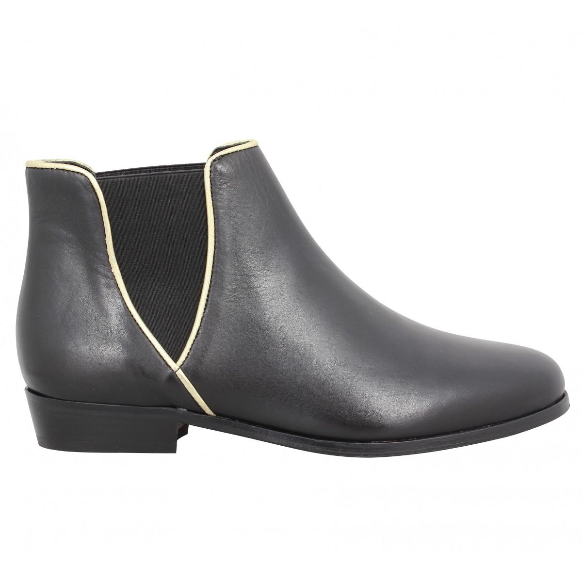 Bobbies SOLDES Boots noires en cuir Visiter Le Nouveau Prix Pas Cher Hb6Kpqvj