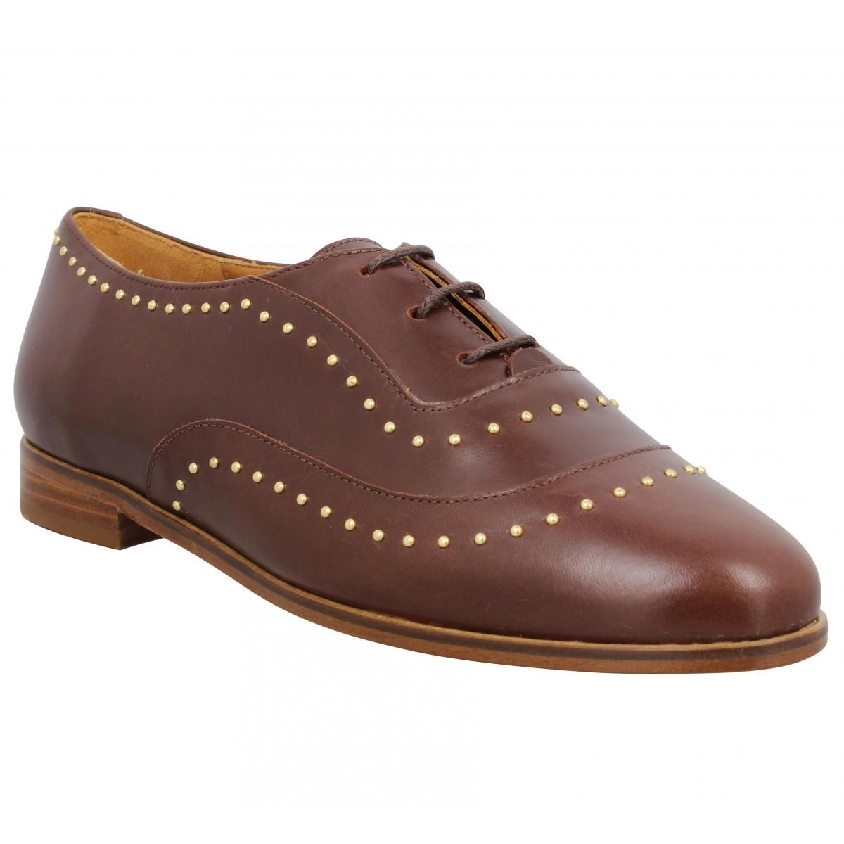 Chaussures à lacets BOBBIES La Pointilleuse cuir Femme Marron