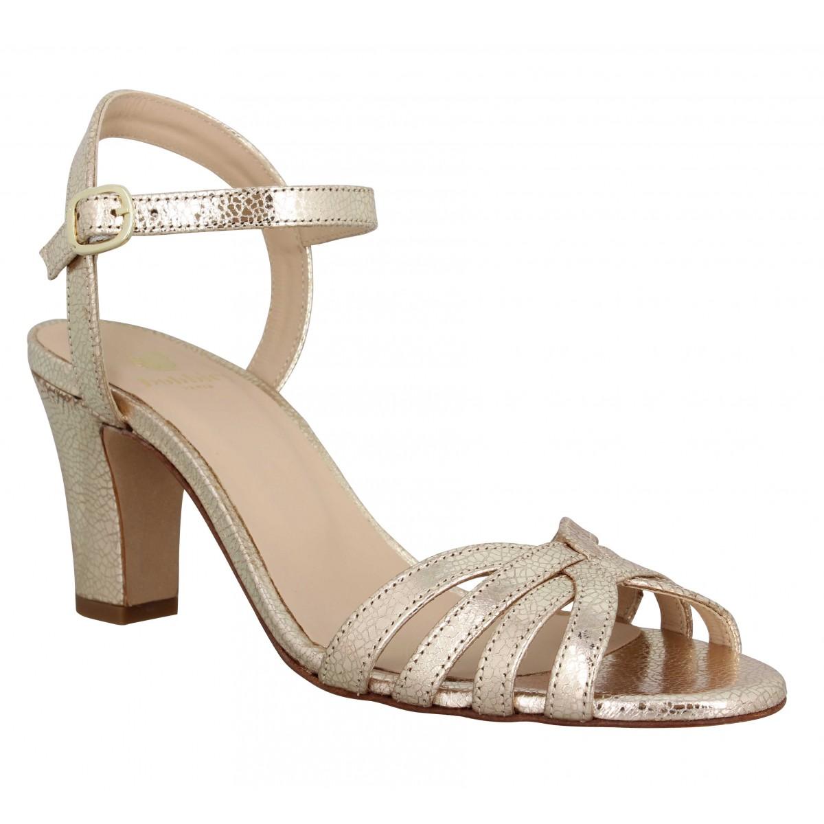 Sandales talons BOBBIES La Ravie cuir Femme Or