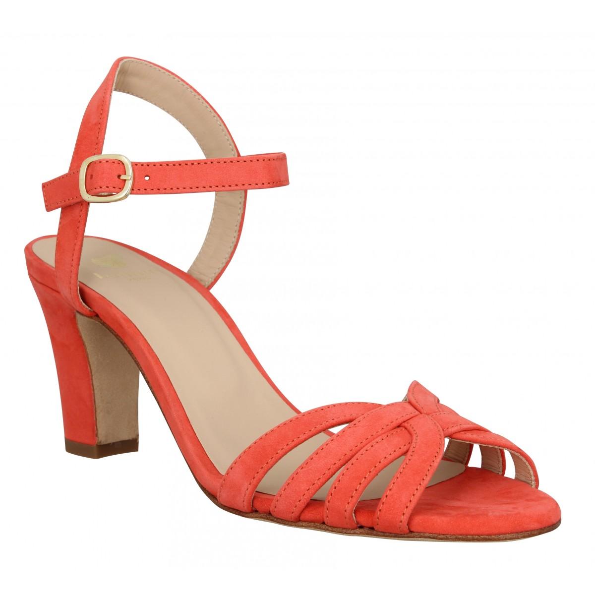 Sandales talons BOBBIES La Ravie velours Femme Corail