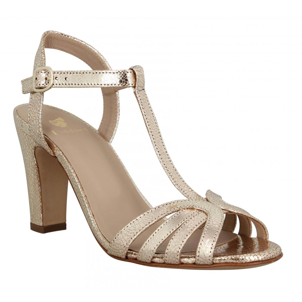 Sandales talons BOBBIES La Ravissante cuir craquele Femme Dore
