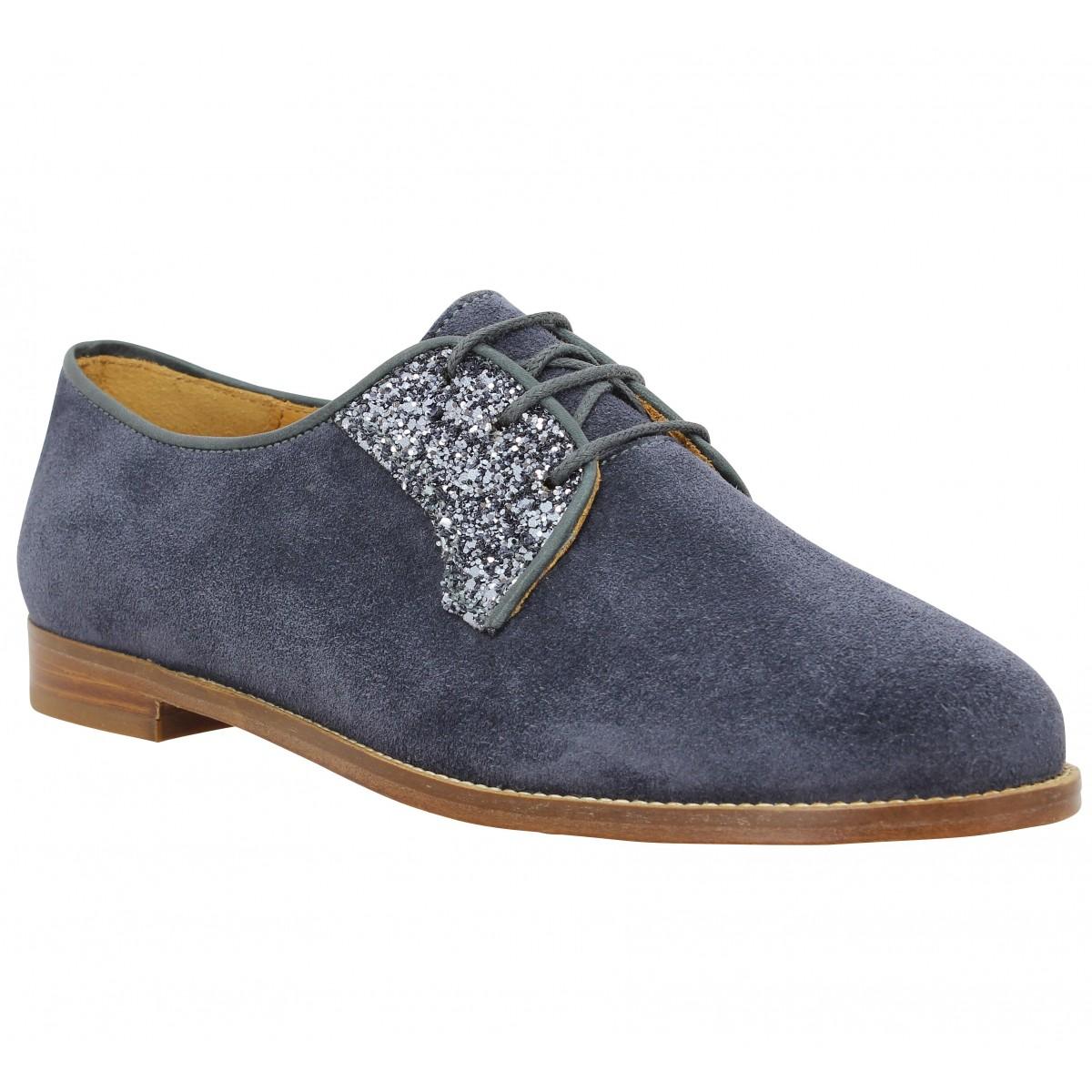 Chaussures à lacets BOBBIES La Romanciere velours paillettes Femme Anthracite