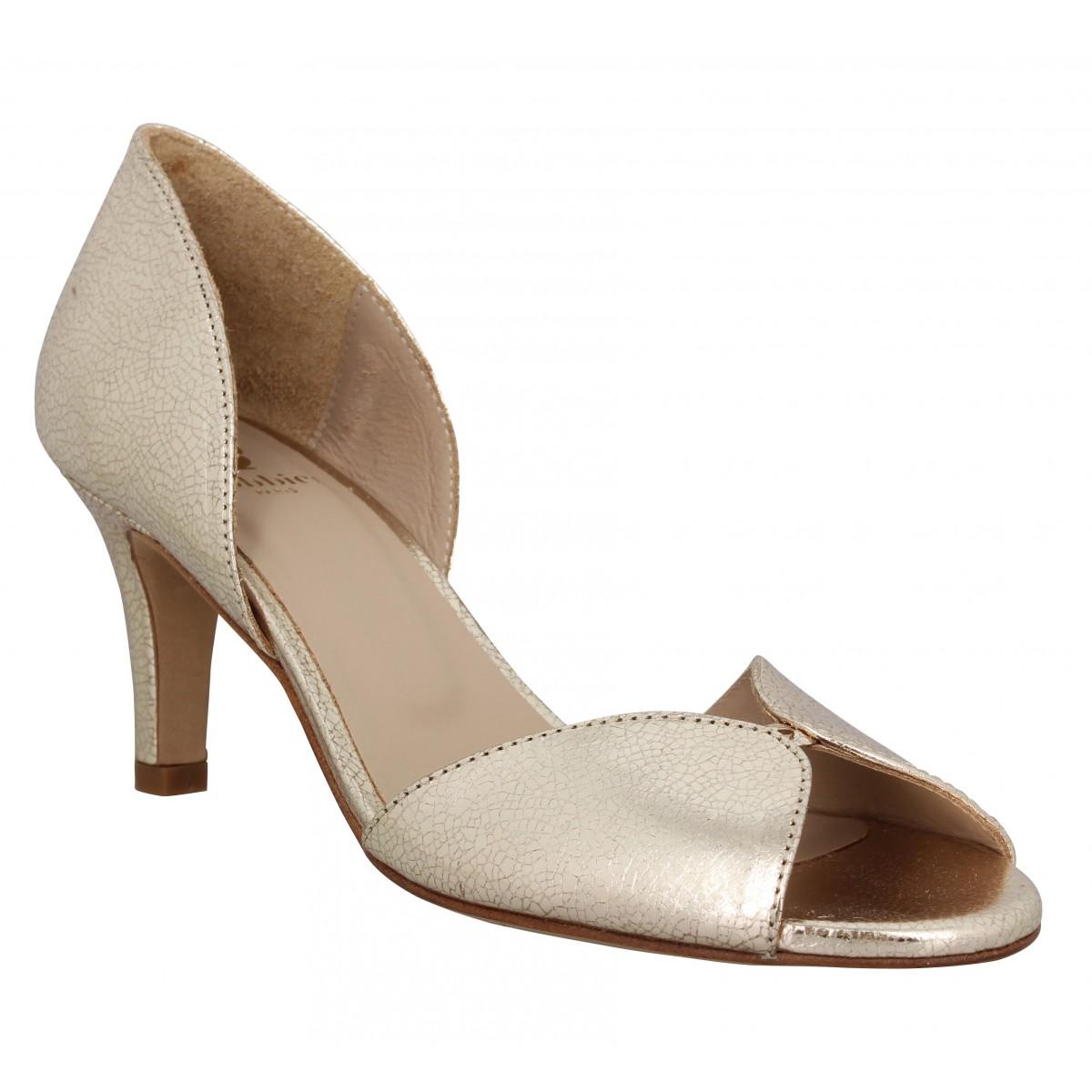Sandales talons BOBBIES La Secrete cuir craquele Femme Dore