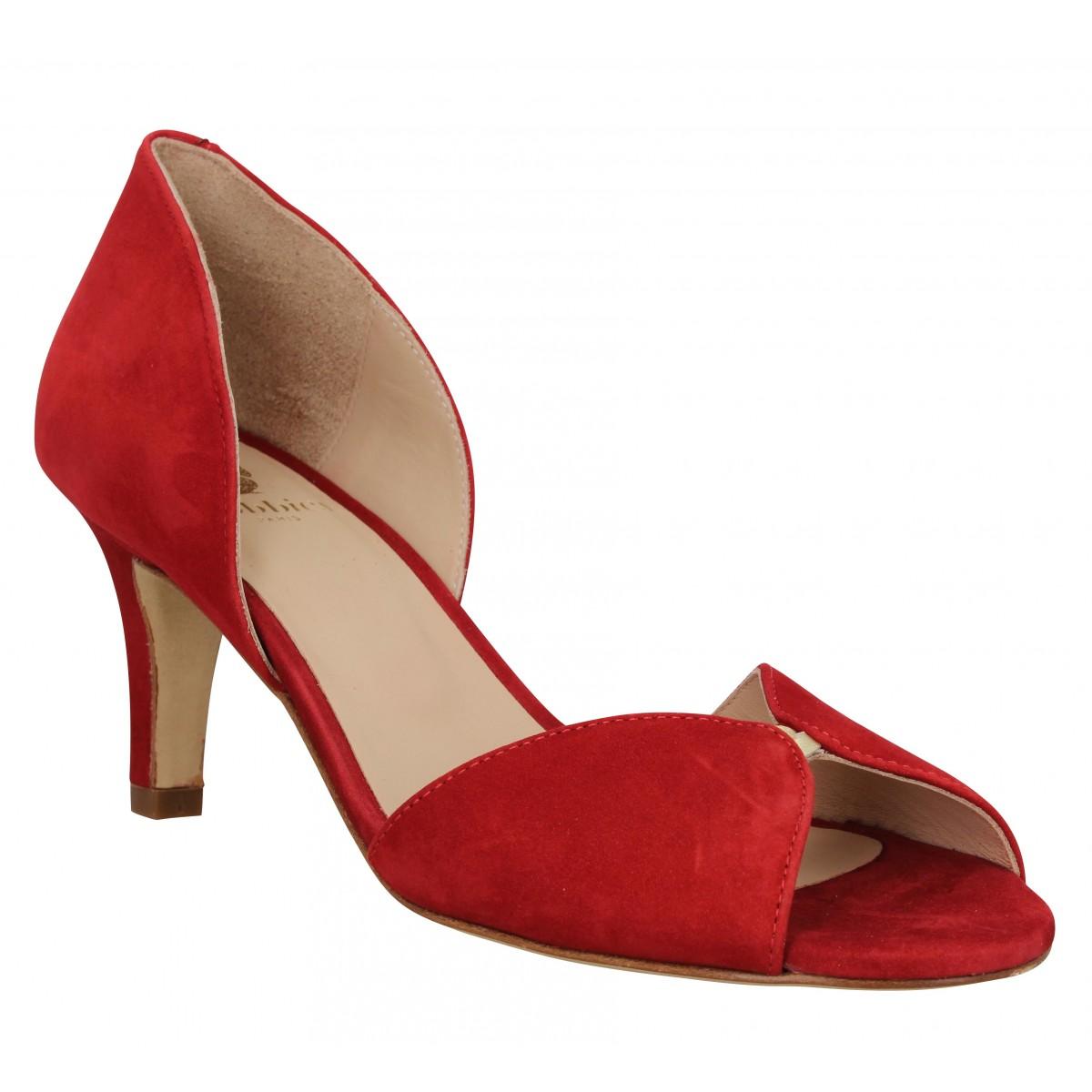 Sandales talons BOBBIES La Secrete velours Femme Rouge