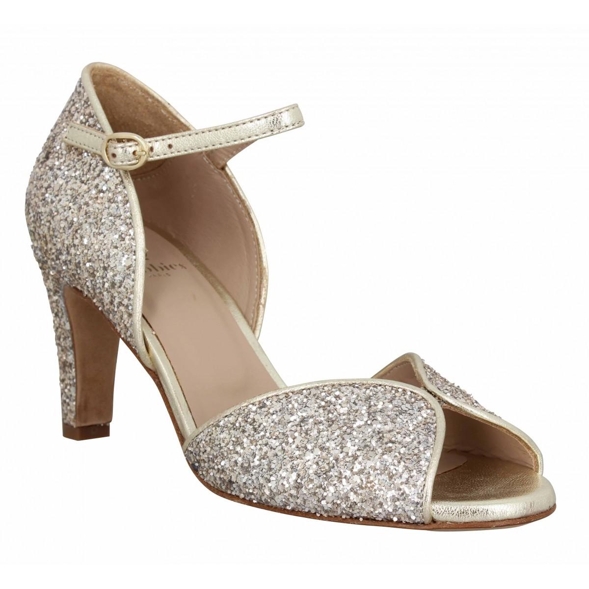 Sandales talons BOBBIES La Swingueuse glitter Femme Dore