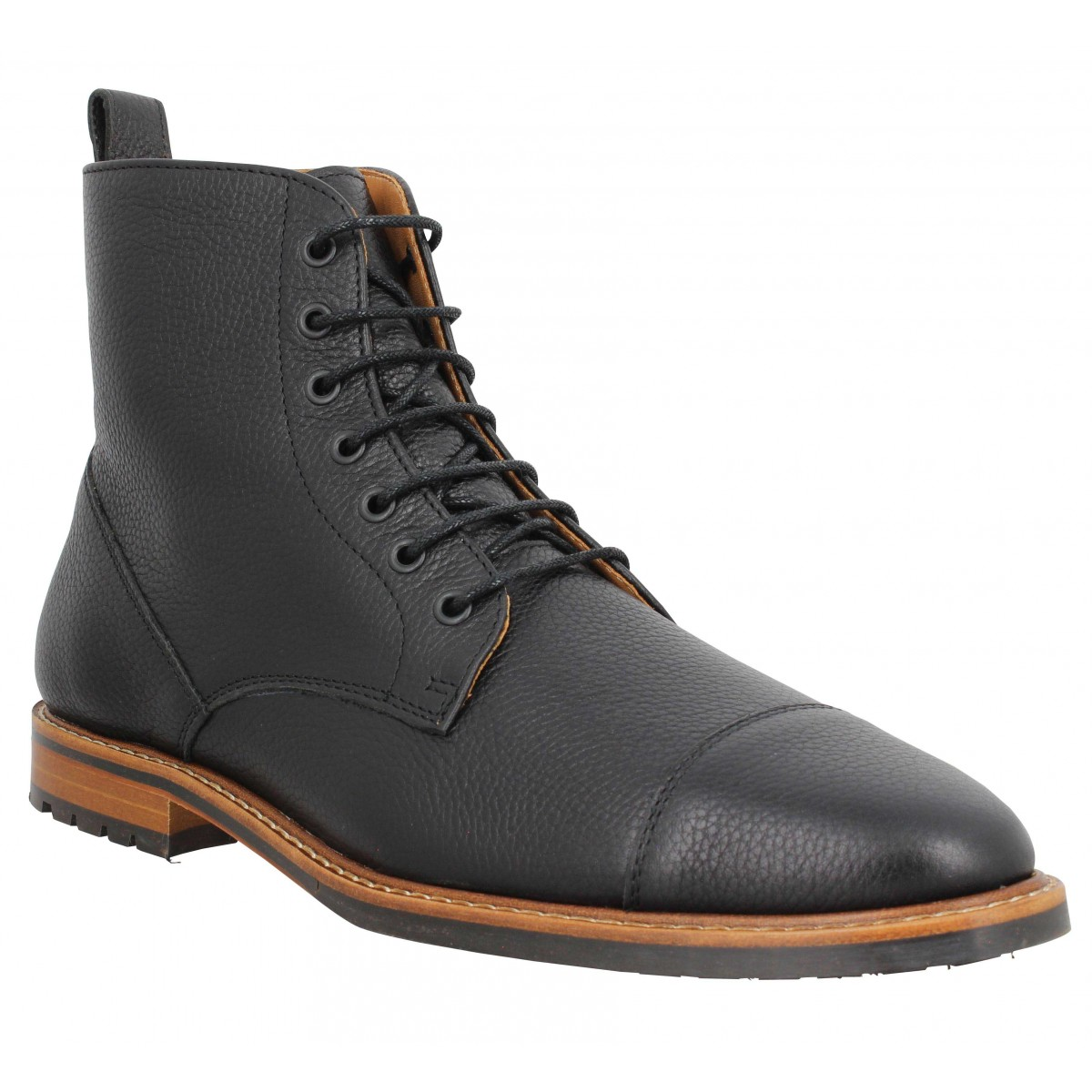 Bottines BOBBIES Le Gaillard cuir graine Homme Noir